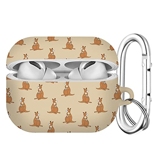 Compatible with Airpods Pro Shockproof TPU Gel Portable Protection Soft Case Cover with Keychain Cute Pattern for AirPods Pro [Animals Kangaroo Medical mask coronavirus]