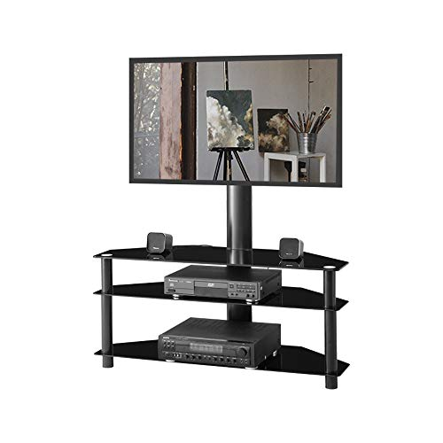 Glass Floor TV Stand with Swivel Mount and Height Adjustable for 32 37 42 47 50 55 65 inch Plasma Flat or Curved Screen Televisions,TVs Bracket with 3 Layers Storage Shelf for Media Devices Xbox, PS4