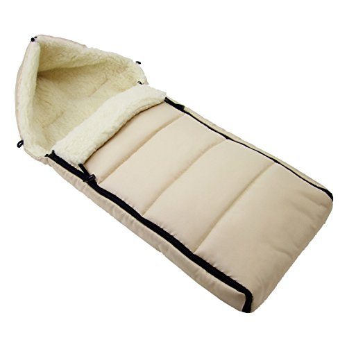 BAMBINIWELT universaler Winterfußsack (90cm), auch geeignet für Babyschale, Kinderwagen, Buggy, aus Wolle UNI liniert BEIGE