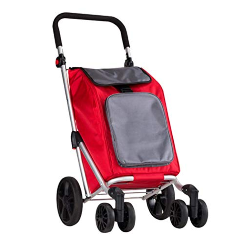 WEIZI Hand Trucks Shopping Cart Trolley Old People Shopping Cart Home Aluminum Shopping Cart Light Shopping Cart Trolley Auto bearing about 25 kg (color: red size: 45 * 56 * 93cm)