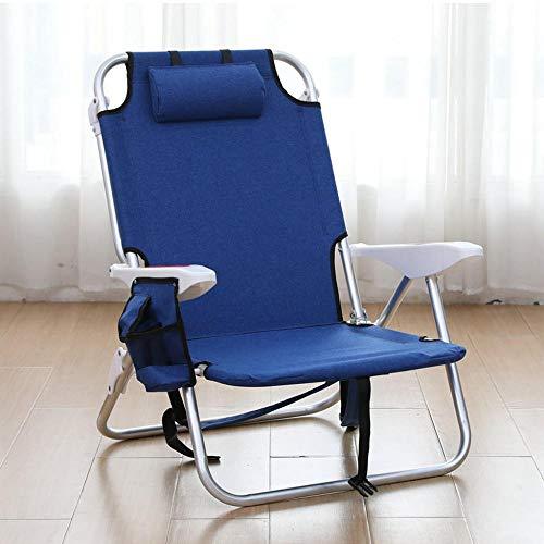 T-ZBDZ Lazy Man Tragbare Liege Klappstuhl Schlaf Freizeit Multifunktionale Einstellung Flach Legen Strandkorb Nach Hause Mittagspause Stuhl-Navy Blau