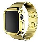 WWXFCA Correa de acero inoxidable+funda para reloj 6 SE 5 4 3 2 pulsera 40 mm 44 mm 38 mm 42 mm banda metal parachoques marco cubierta (color de la correa: oro, ancho de la correa: 44 mm)