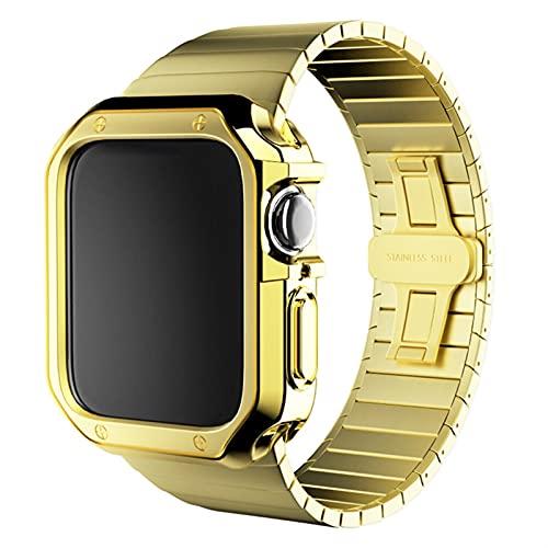 LRJBFC Correa de Acero Inoxidable + Estuche para el Reloj de Apple 6 SE 5 4 3 2 Pulsera 40mm 44mm 38mm 42mm Banda de Banda de Metal Cubierta de Marco de parachoque