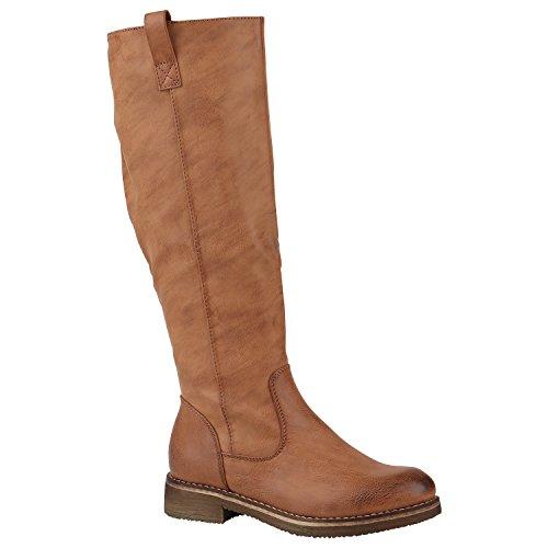 Klassische Stiefel Damen Leicht Gefüttert Boots Profilsohle Schuhe 149797 Hellbraun Camargo 40 Flandell