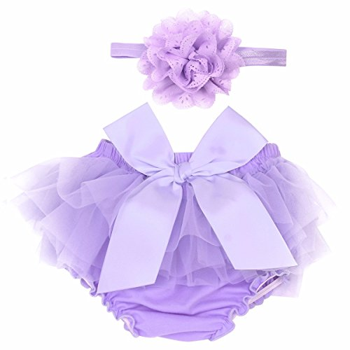 FEESHOW Infant Baby Girls Bow-Knot Tulle Ruffle Bloomers Shorts Diaper Cover with Flower Headband Set Photography Outfit Lavender 0-6 Months