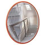 ECD Germany Espejo de Tráfico Ø 30 cm con Soporte Giratorio Rojo Irrompible Retrovisor de Seguridad Resistente a la Intemperie Reflejo de Vigilancia Panorámico Espejo Convexo Facilita Entrada y Salida