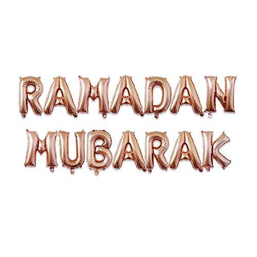SFBBBO Globos de cumpleaños 5 uds Globos Redondos Estrella Mubarak decoración Luna Globos de Helio Ramadán Kareem Al-Fitr Suministros Naranja