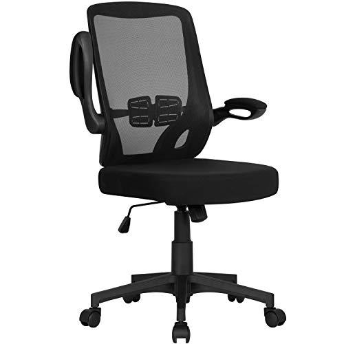 Yaheetech Bürostuhl ergonomischer Drehstuhl mit klappbaren Armlehnen Chefsessel Netzbezug Schreibtischstuhl Höhenverstellung Office Stuhl Computerstuhl