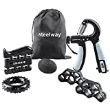 steelway Grip Strength Trainer, Forearm workout Equipment Kit-6 Pack, Adjustable Resistance Hand Wrist Trainer Gripper with Counter, Finger Exerciser/Stretcher, Grip Ring & Stress Relief Grip Ball for Recovery and Athletes