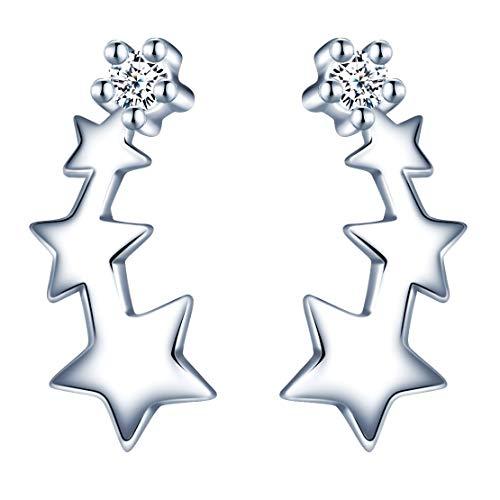 MicLee-Pendientes mujer niña S925 pendientes de plata esterlina que conectan toda la fila de estrellas, precioso adorno de circonita, lujo ligero y moda, adecuados para regalos de mujer.