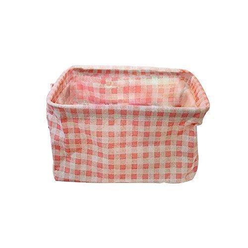 monbedos Baumwolle Leinen Aufbewahrungsbox faltbar Aufbewahrungstasche für Stoff Schublade, Baby Stauraum, Spielzeug, Kleidung storage-pink Plaid