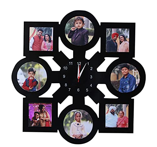 Mehar internationals customized MDF wooden clock frame gift for your loving one on occassion of him/her birthday, anniversary, engagement or any other special occassion (Size 16*16 inch)