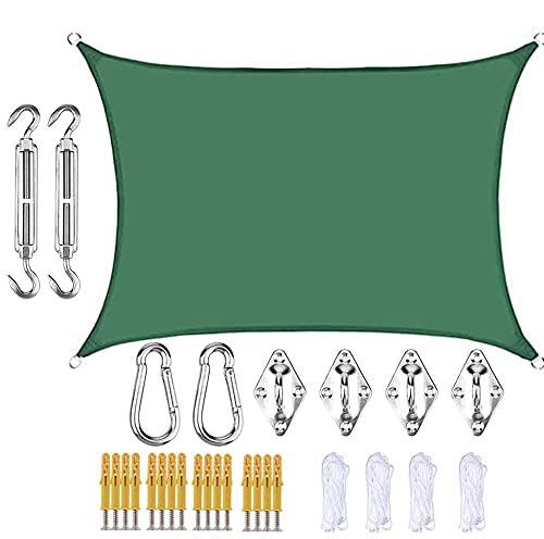 AMY-ZW Sun Shade Sail Rectangle Sombrilla de sombrilla 95% UV Bloque Impermeable Patio al Aire Libre Jardín Terraza Terraza Shelter Toldo Gazebo Canopy Rope Fijación Kits regalos-3x5m