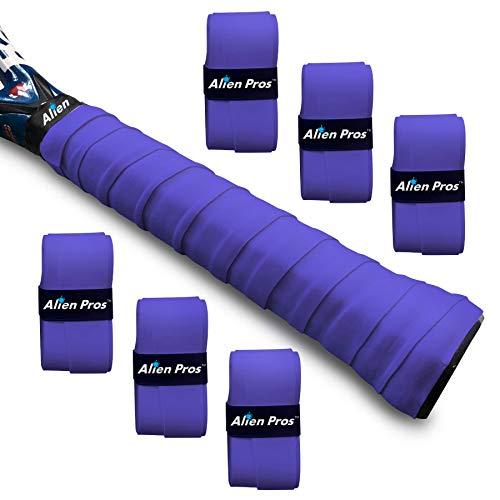 Alien Pros Ruban Grip pour Raquette de Tennis (6 Grips) – Pré-découpé et Anti-Transpirant – Surgrip Raquette de Tennis - Recouvrez Votre Raquette pour Une Meilleure Performance (6 Grips, Violet)