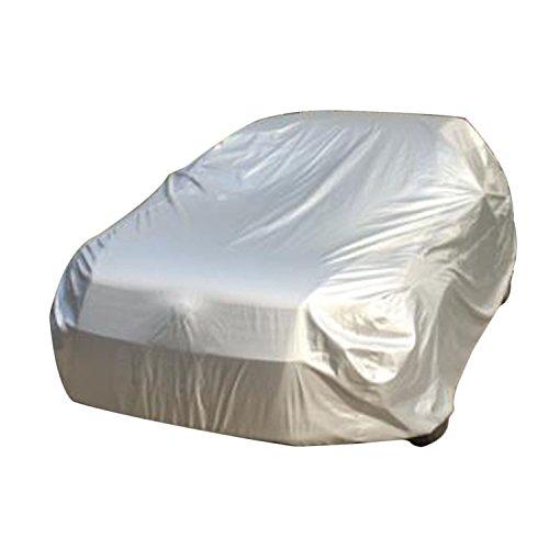 logei® Wasserdicht Autoabdeckung Auto Ganzgarage Autogarage Abdeckung Abdeckplane Autoplane spezielles Cover gut Qualität S, 406*165*120cm, silber