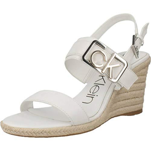 Calvin Klein Damen Sandalen Sandaletten B4E7907 Weiß 38 EU