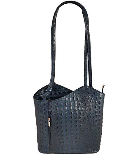 Freyday 2 in 1 Handtasche-Rucksack Henkeltasche aus Echtleder in versch. Designs (Kroko Dunkelblau)