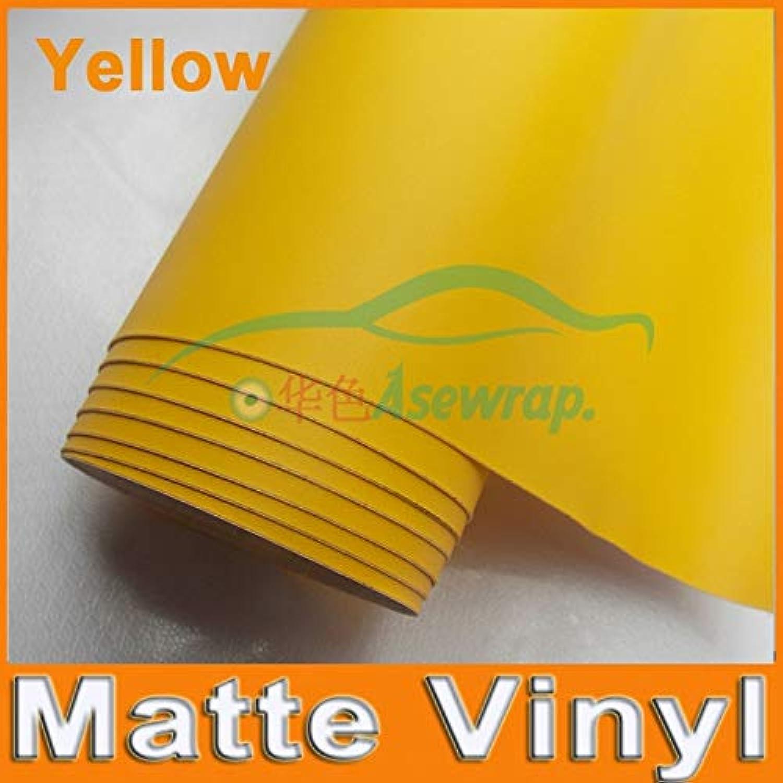 Premium Black Matte Vinyl Wrap with Air Bubble Free Satin Black Foil Car Wrap Film Sticker with Different Size Roll(color Name  Yellow, Size  15m)