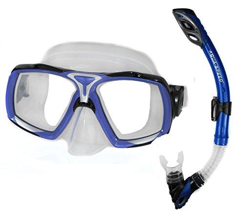 Aqua Speed Schnorchel Set - Für Erwachsene - Tauchermaske + Schnorchel - Schnorchel Mit EASY-ADJUST System - Für Pool Und Meer - #AsElea Rio, Blau, 11