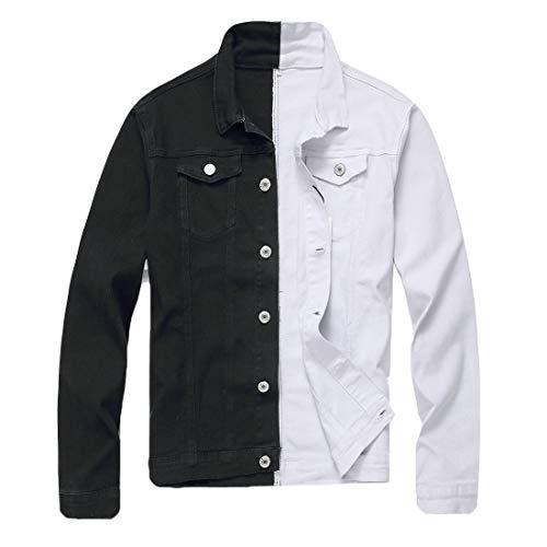 Hajotrawa Mens Cotton Button Up Stretchy Contrast Color Denim Trucker Jacket Coat Black US L