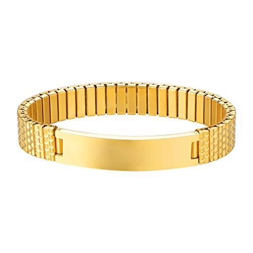 Supcare Gold Plated Mens Bracelet 18K Gold Plated Fathers Gift Stretch Bangle (Fit Wrist 16-21CM)