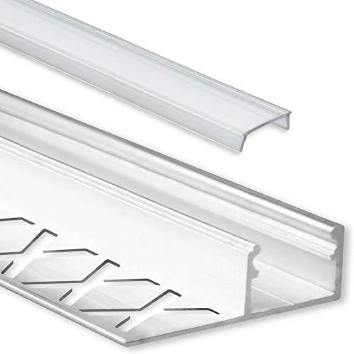 LED Fliesenprofil Alu Profil 2 Meter inkl. Abdeckung - Fliesen - Aluminium für LED Streifen bis 12mm Breite - 2000mm Länge (Abschlussprofil Fliesen - klare Abdeckung)