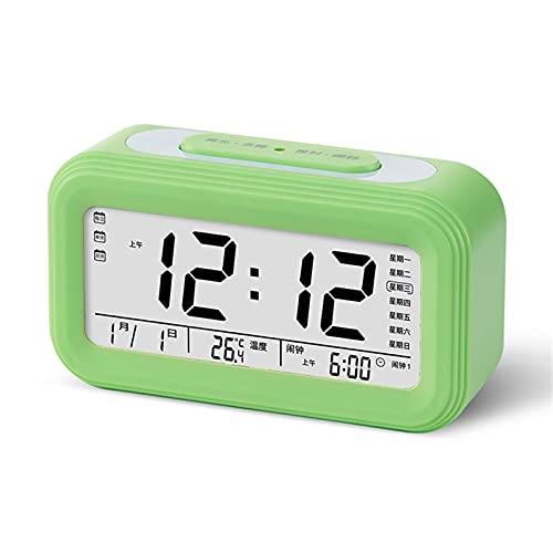 HCCTOZZ Reloj Despertador Pantalla LED Reloj Despertador Digital Snooze Luz Nocturna Reloj de Batería con Fecha Calendario Temperatura para Dormitorio Oficina en Casa Viajes(Color:Green)