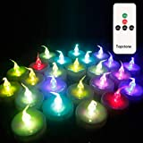 Topstone Color Changing Led Tealight Candles with Remote Control and Timer,Battery Operated Flameless Candle, Votive Candles,Electric Tea Candles for Party,Pack of 12