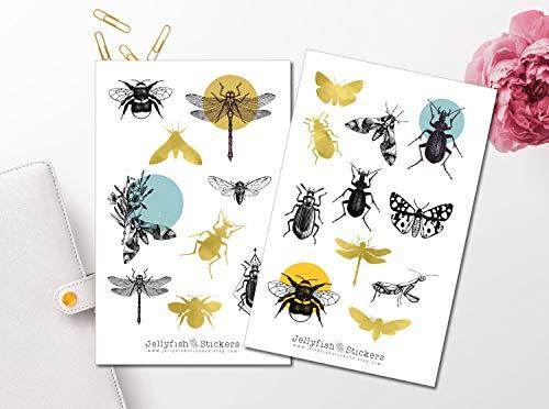 Insekten Sticker Set | Aufkleber | Journal Sticker | Blumen Sticker | Planersticker bullet journal sticker, Sticker Biene, Käfer