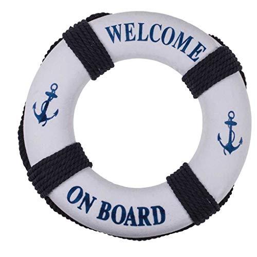 Out of the blue Rettungsring als Maritime Wanddeko mit Aufdruck Welcome on Board und Ankermotiv, blau-weiß, aus Kunststoff und Seil. Maße (H x B x T): 42 x 35 x 5 cm (Höhe inkl. Aufhängeseil)