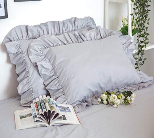 アンティーク風綿100% フリル模様枕カバー グレー (2枚入り)