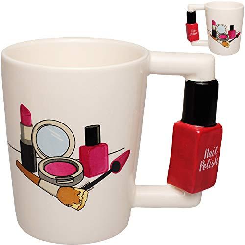 alles-meine.de GmbH 3D Effekt _ Henkeltasse / Kaffeetasse - Nagellack & Lippenstift - groß - 270 ml - Keramik / Porzellan - Teetasse - Trinktasse mit Henkel - Tasse Becher - Porz..