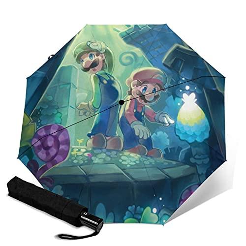 Super Smash Bros Mario Forest Paraguas plegable automático de cierre abierto, ligero, compacto, portátil, viaje triple paraguas unisex