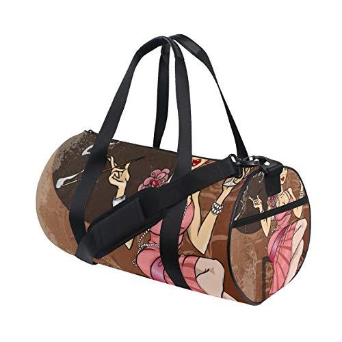 ZOMOY Sporttasche,Retro Party Einladungskarte Hübsche Frau,Neue Druckzylinder Sporttasche Fitness Taschen Reisetasche Gepäck Leinwand Handtasche