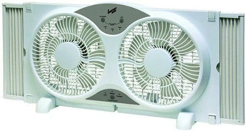 """Lotus Analin Portable Twin 9"""" Reversible Window Fan with Remote Control"""