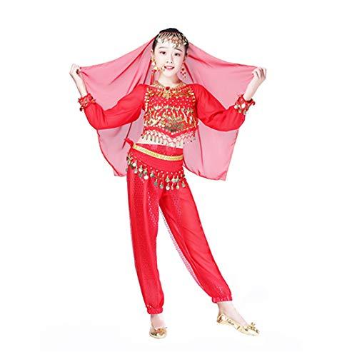 Aiweijia Disfraz de Danza India del Vientre para Mujer Traje de Danza del Vientre de Danza étnica Práctica Pantalones Destacados de Baile Conjunto de 4 Piezas rojo-M/100/120cm