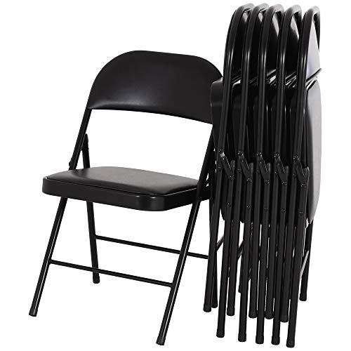 MACOShopde by MACO Möbel Klappstuhl - Faltstuhl Gästestuhl im 6er Set, Polsterung aus Kunstleder in schwarz, Gestell aus Metall 22 mm in schwarz
