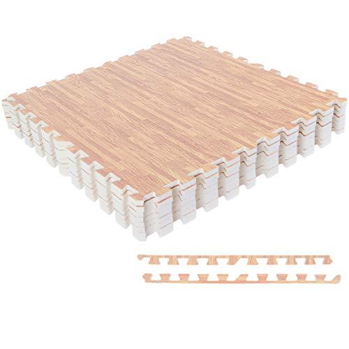 MSPORTS Bodenschutzmatten Set Premium - 8 Schutzmatten 3,175m² | Bodenschutz 60x60 cm inkl. Endstücke | Stärke: 1,2 cm | Puzzlematten Gymnastikmatte (Holzoptik - Hell)