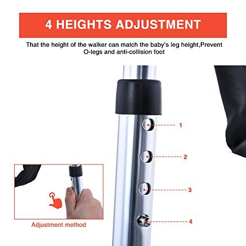 41aEVC2wnHL - Andador Bebe, Silla de Bebe Plegable y Ajustable para bebés de 6 a 18 meses (Negro con Freno)