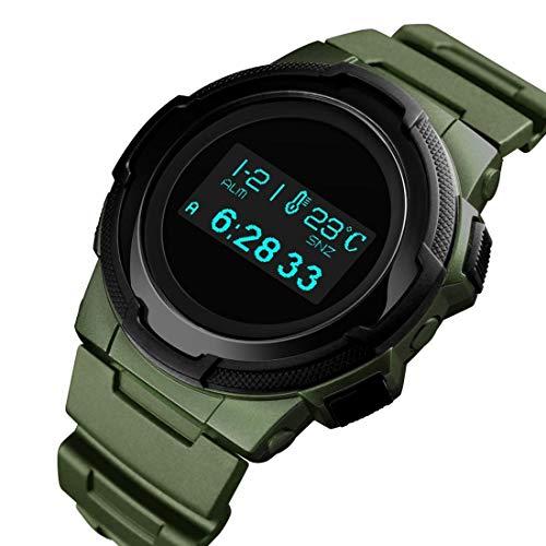 MMSD Reloj electrónico multifuncional impermeable para hombre con calorías (color: verde militar)