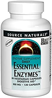 Source Naturals Essential Enzymes 500mg Bio-Aligned Multiple Supplement Herbal Defense for Digestion, Gas & Constipation Relief & Daily Digestive Health - Strong Immune System Support - 120 VegiCaps
