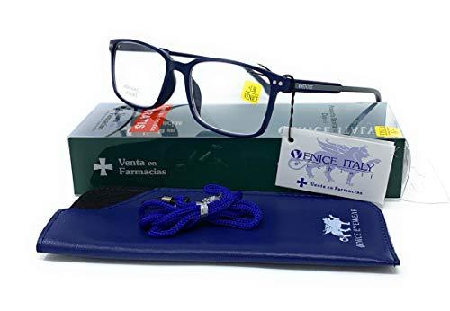 Gafas ver de cerca, lectura para hombre- Venice Manager Dioptría (1-1,50-2 - 2,50-3 - 3,50) (Azul, 1,00)