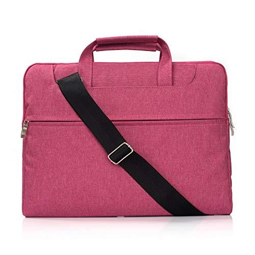 Borse per Notebook e Accessori Portatile Una Spalla Zipper Portatile Laptop Bag, Il 15,4 Pollici e sotto MacBook, Samsung, Lenovo, Sony, dell Alienware, CHUWI, ASUS, HP (Nero) Ctj (Colore : Magenta)
