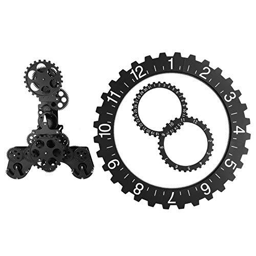 Cosiki Reloj de Rueda Calendario mecánico, q Reloj de Pared, Movimiento de Cuarzo Negro Fantástica Sala de Estar para el hogar