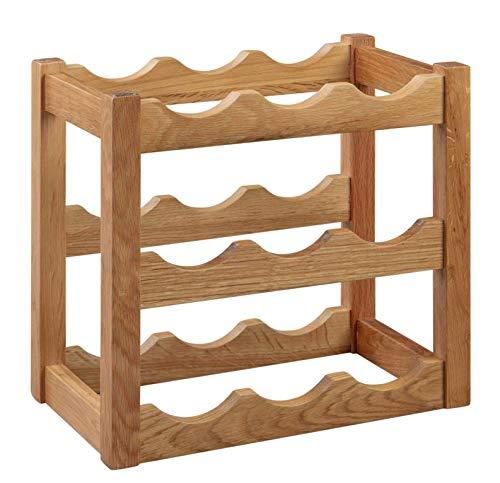 Hallowood Waverly Weinregal aus Eichenholz, für 9 Flaschen, Aufbewahrungseinheit aus Holz, leicht, 3 Etagen