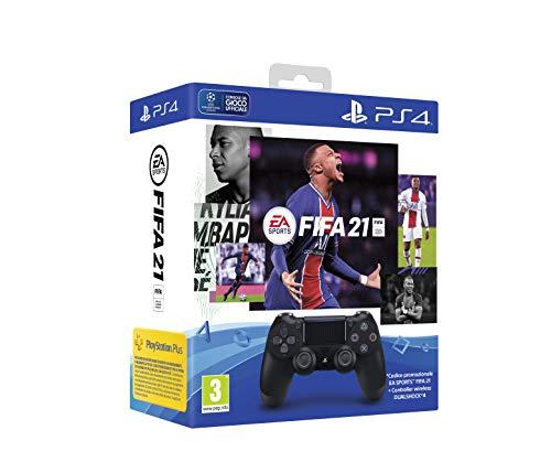 PlayStation 4 - Dualshock 4 Controller Wireless V2 Black + FIFA 21 (Codice Download) + FUT 21 Promo code