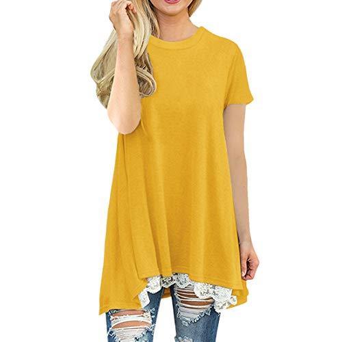 Tops de Mujer Jersey de Manga Corta con Cuello Redondo Costuras raglán Decorativas Túnica a Contraste Camiseta de Mujer Corta con Cuello Redondo y Camiseta de Mujer Corta Tops de Camisa de Verano Top