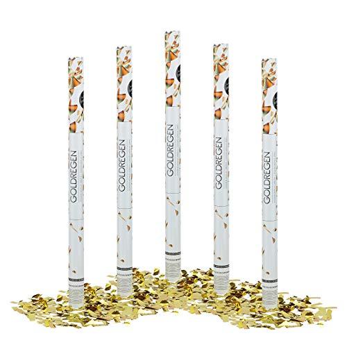 Relaxdays 5 x Party Popper 80 cm im Konfettikanonen Set, Konfetti Bombe für Hochzeit und Geburtstag, Konfetti Shooter 6-8 m Effekthöhe, Gold metallic