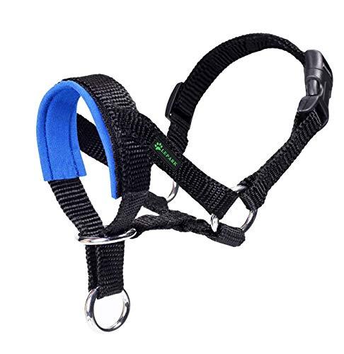 ILEPARK Hundehalfter Mit Gepolstertem Stoff, Halfterhalsband Für Hunde, Verstellbar Und Ziehen verhindert. (M,Blau)