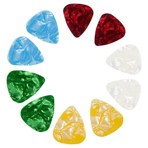 Púa de guitarra de 10 piezas con 5 colores diferentes, uso para electrónica, acústica, bajo, ukelele u otros instrumentos